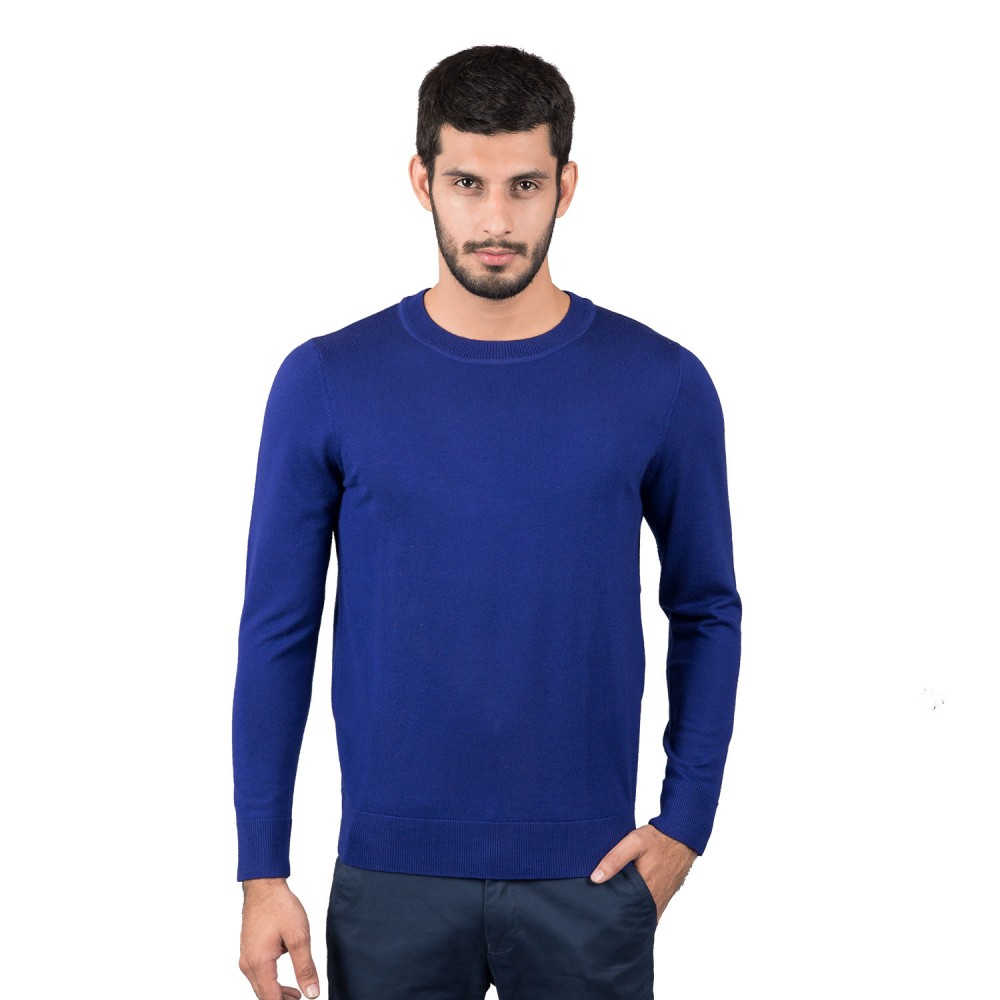 Sweater - Merino Wool Electric Blue Plain - Regular