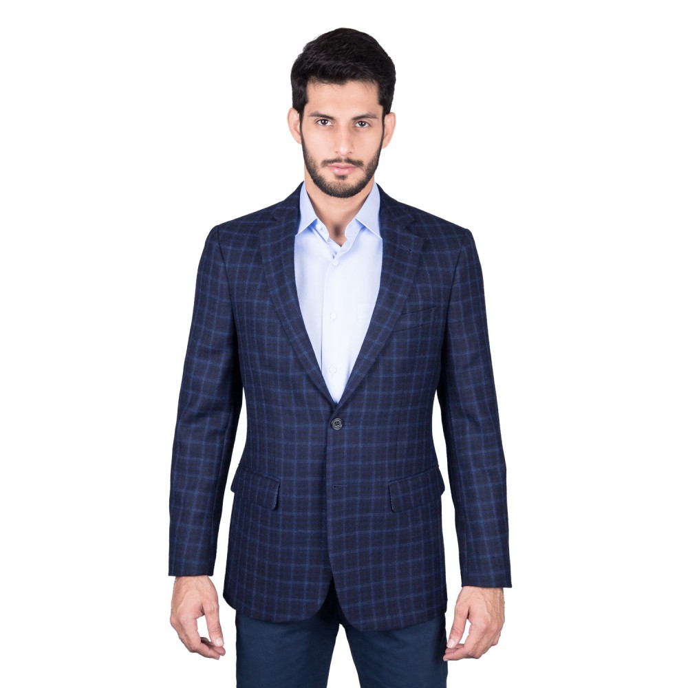 Jacket - Worsted Tweed Blue Checks