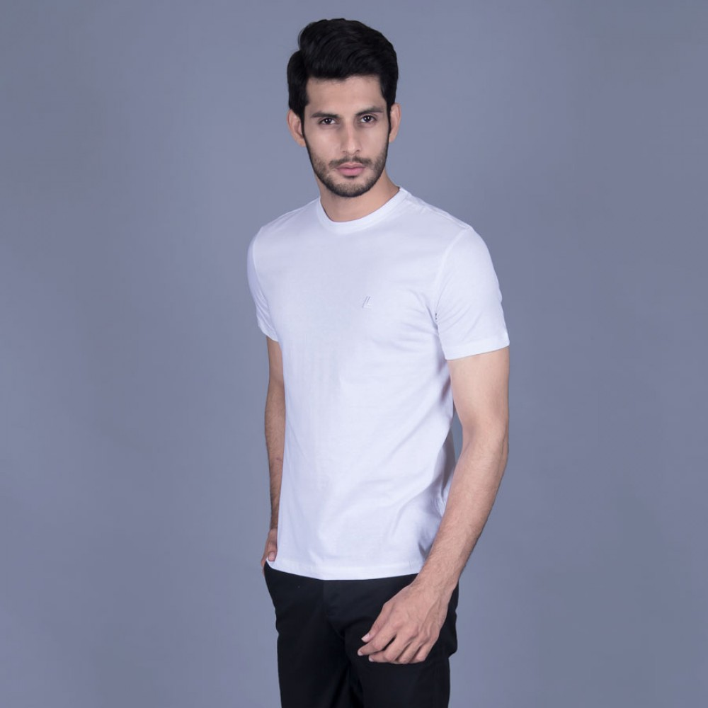 Plain White Round Neck Basic T-Shirt
