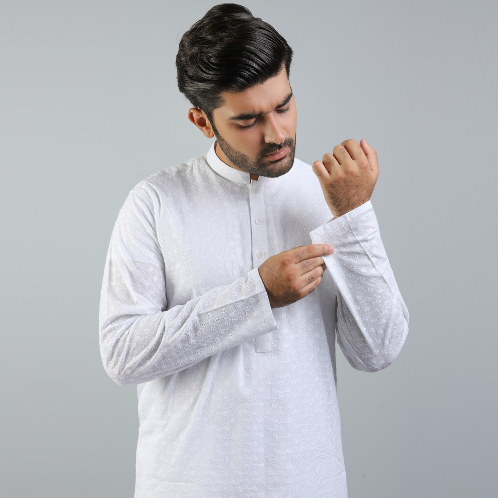 White Flower Cotton Schiffli Kurta