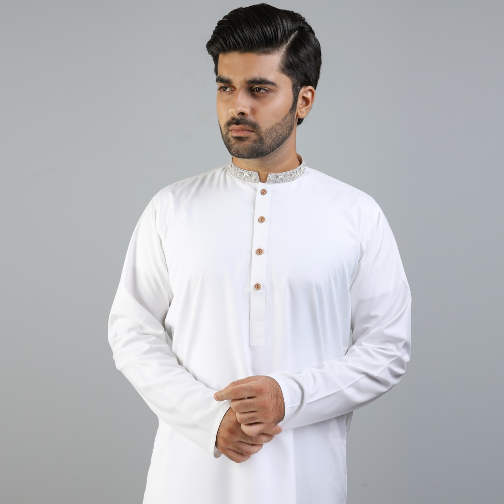 Off White Synthetic Boski Silver Embroidery Kurta