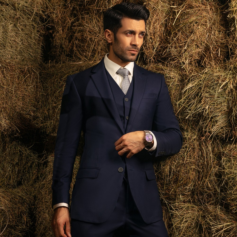 Plain Blue, Super 140's - Florence 3 Pc Suits