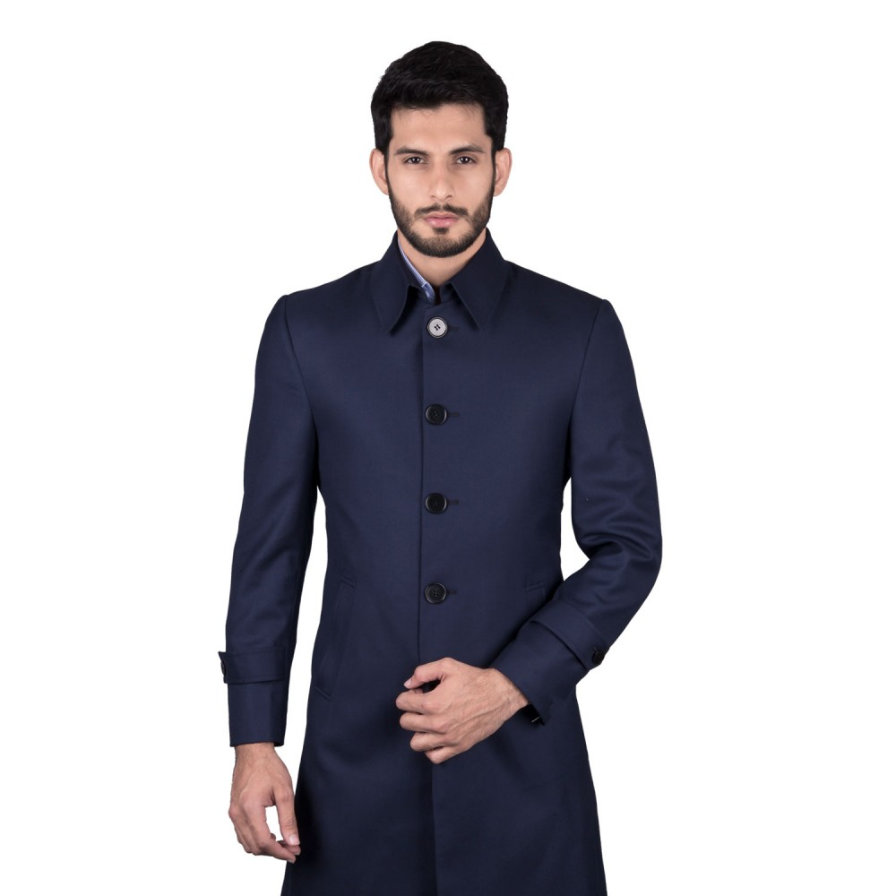 Long Coat - Superior Serge Blue Plain