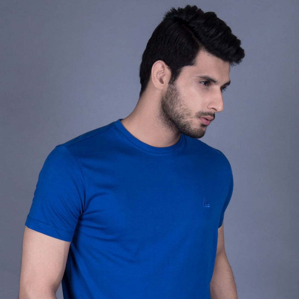 Plain Royal Blue Round Neck Basic T-Shirt