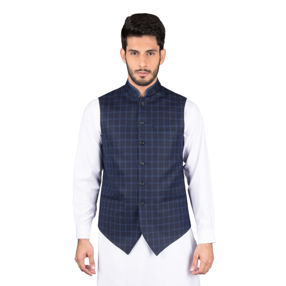 Waist Coat - Worsted Tweed Blue Checks