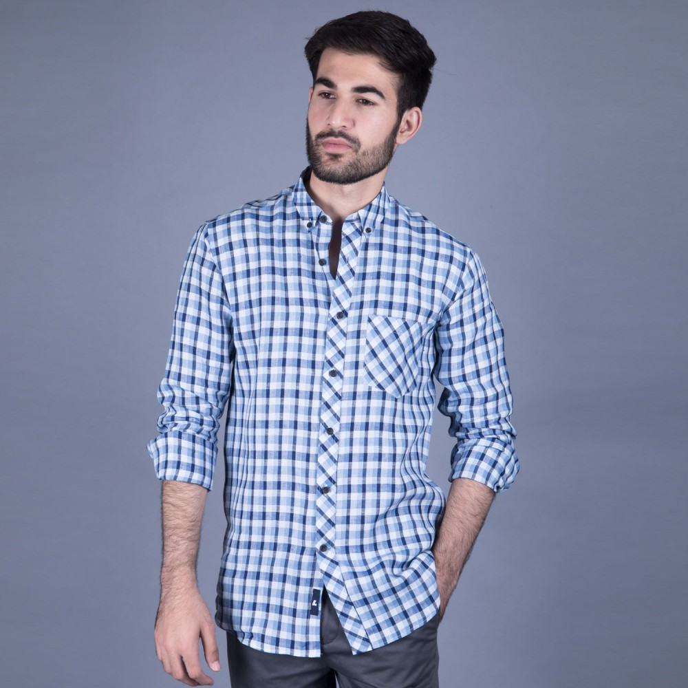 Blue Multi  Checks Linen Casual Shirt