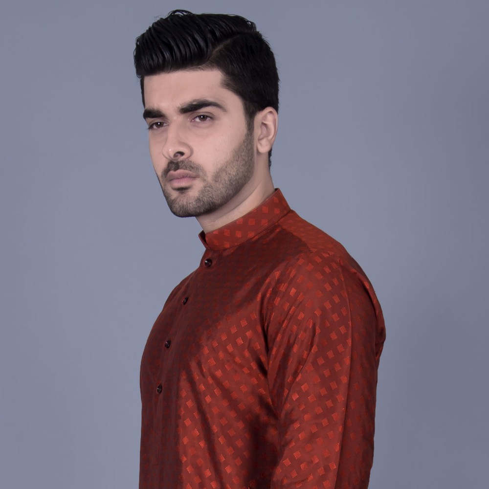 Jamawar Kurta in Orange Mini Diamond Self Texture