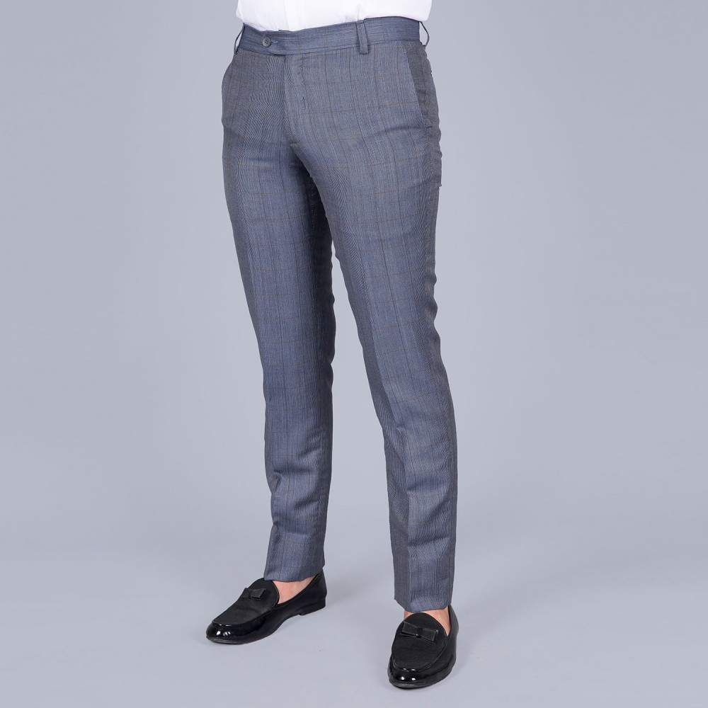 Broad Checks Dark-Blue Linwool Trouser