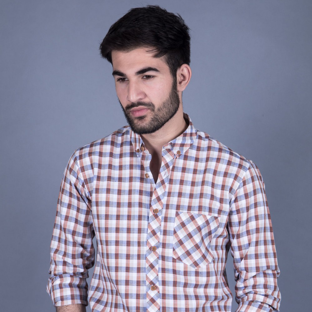 Brown Multi Checks Linen Casual Shirt