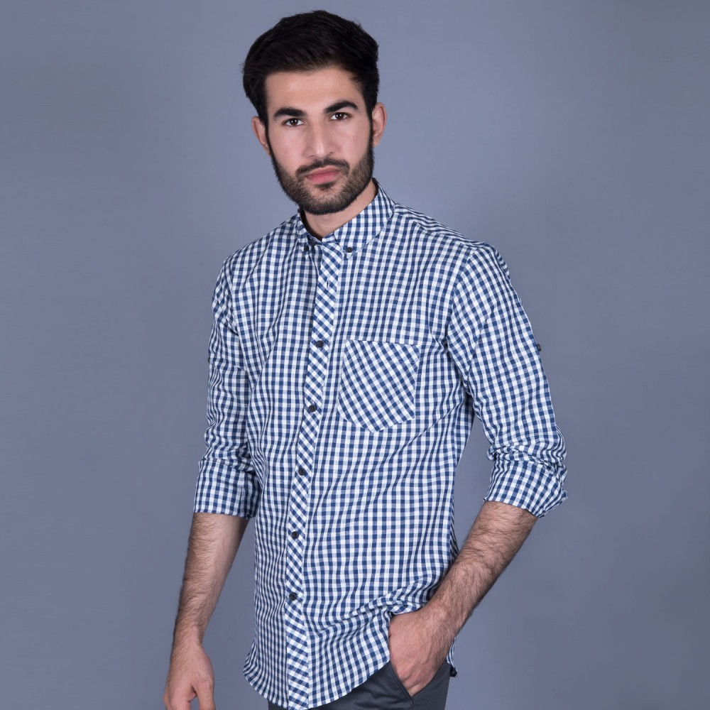 Dark Blue Checks Linen Casual Shirt