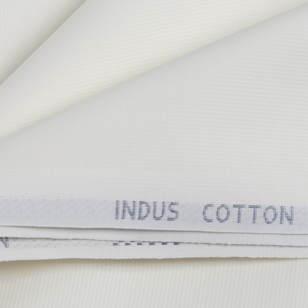 Off White Dobby Design Indus Cotton Fabric