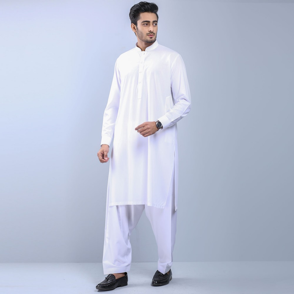 Plain White Wash-n-Wear Shalwar Kameez