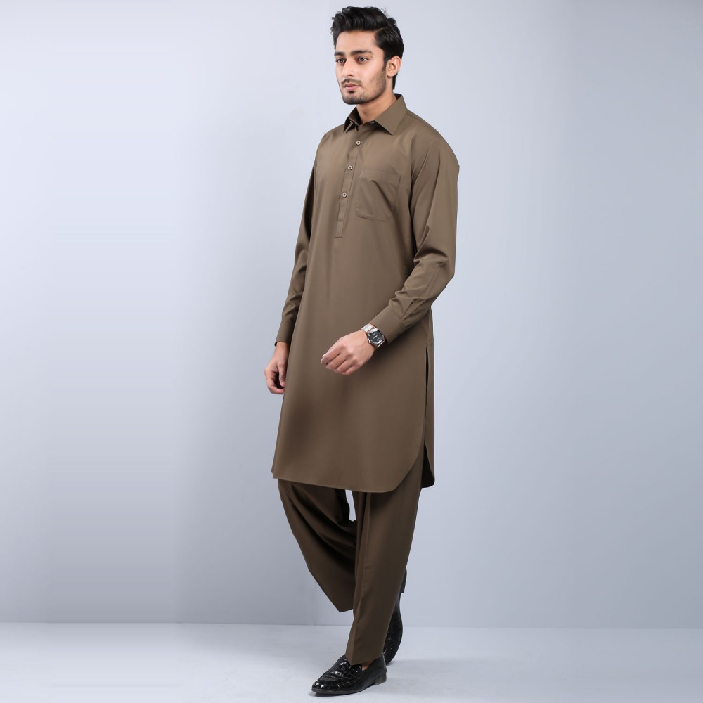 Plain Olive Wash-n-Wear Shalwar Kameez