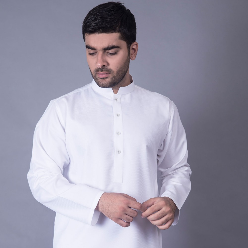 Kurta  White Textured