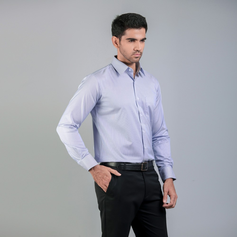 Mid-Blue Pencil Stripes Formal Shirt
