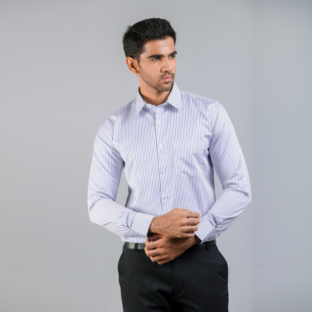 Dark Blue Wide Pin Stripes Formal Shirt