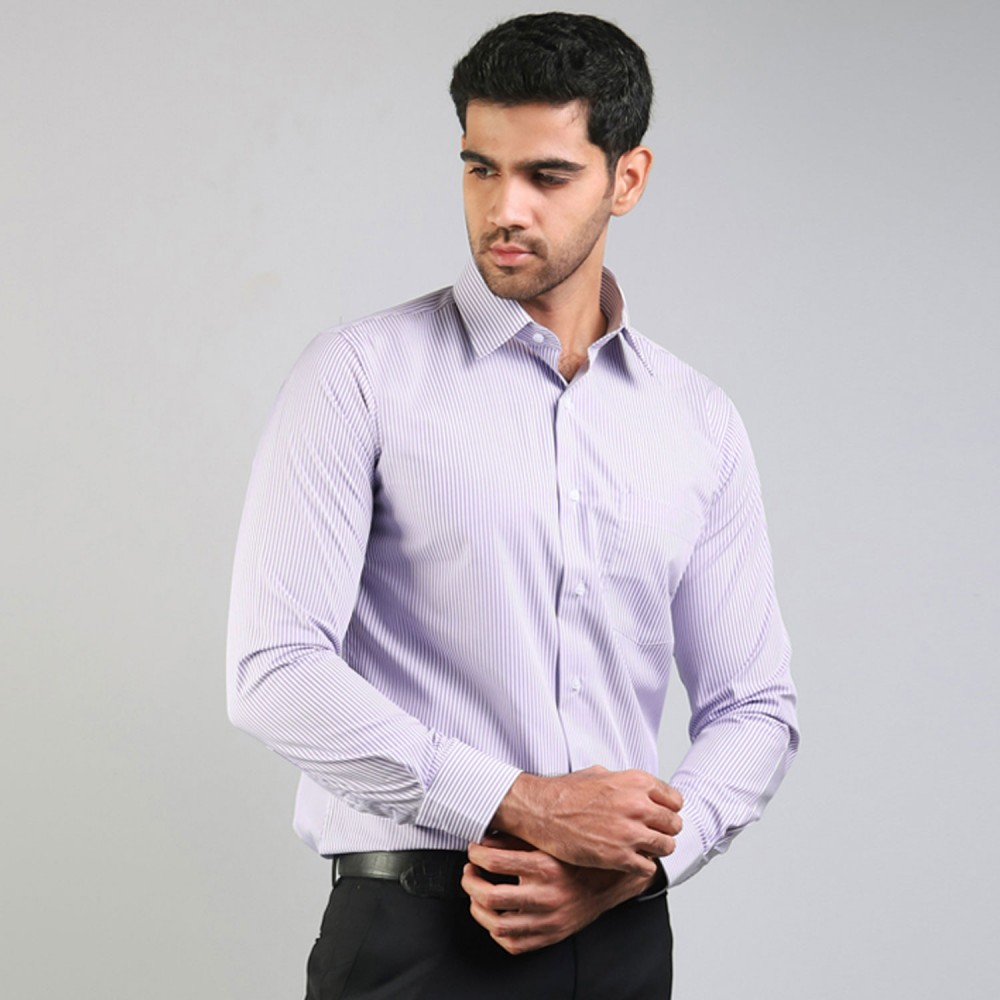 Lavender (with Blue Outline) Bengal Stripes Formal Shirt