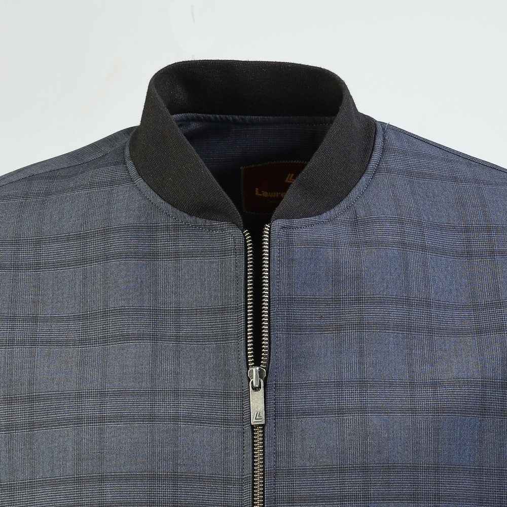Blue Checks, Poly Viscose Wool - Bomber Jacket