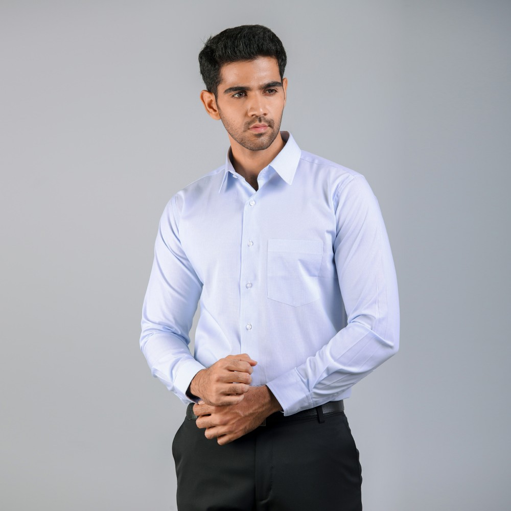 Mid-Blue HairLine Stripes Formal Shirt