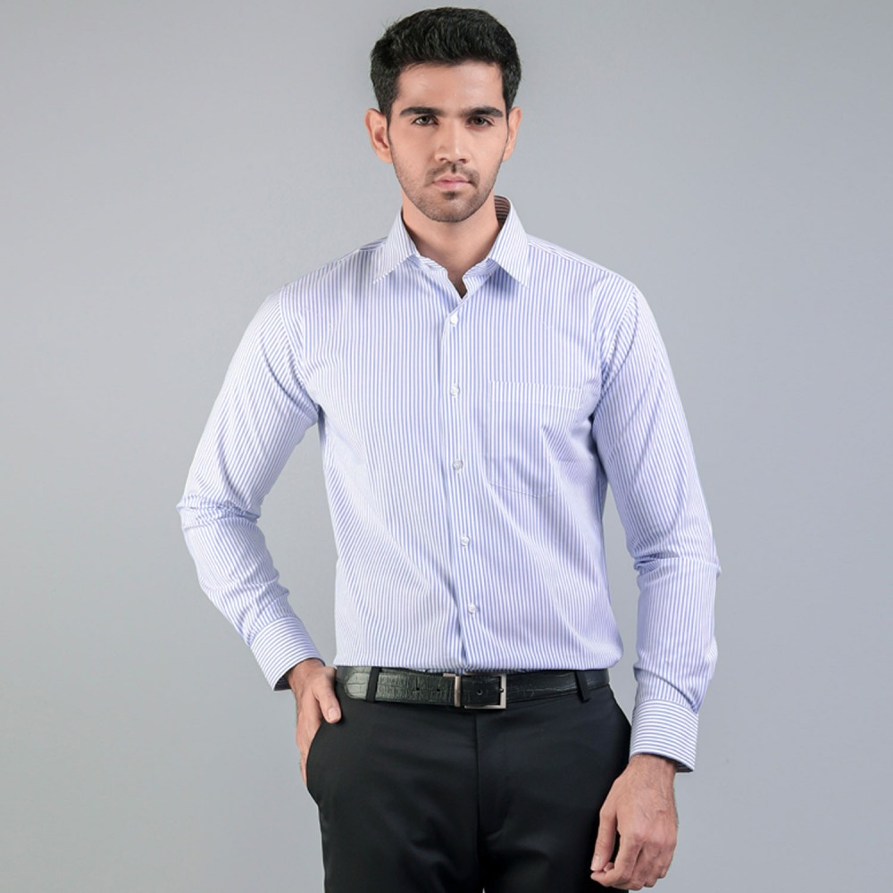Light Blue Wide Pin Stripes Formal Shirt
