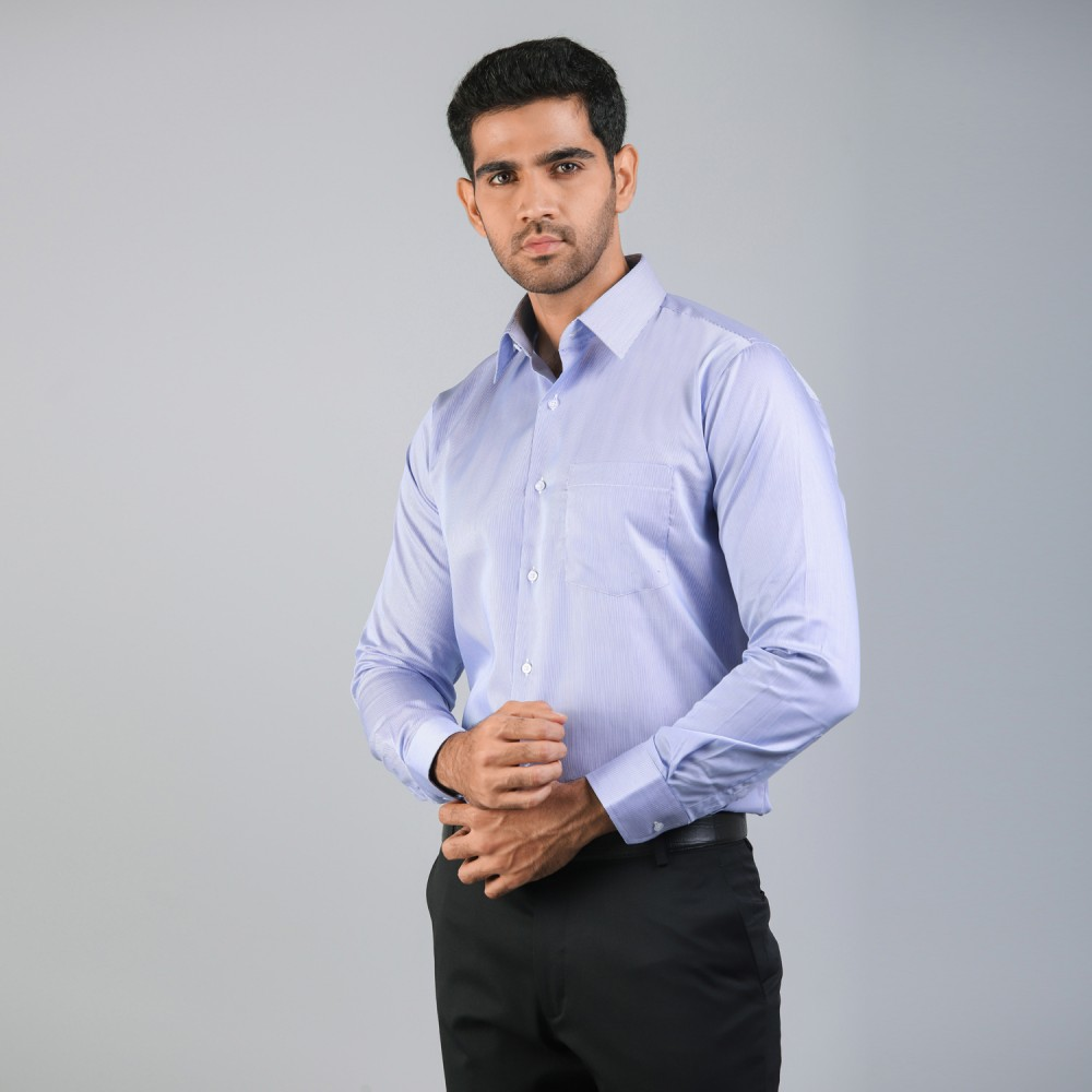 Ink Blue Hair Line Stripes Formal Shirt