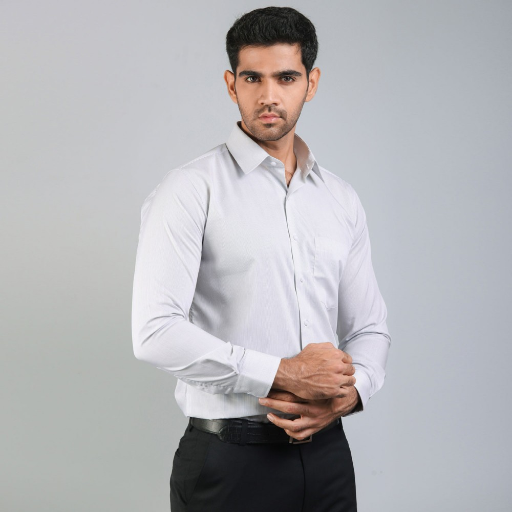 Mid-Grey Pencil Stripes Formal Shirt