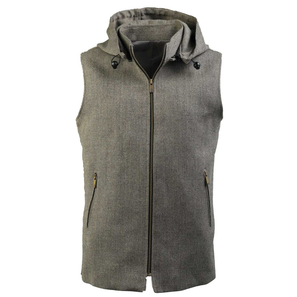 Grey Design, Wool Rich - Worsted Tweed High Neck Sleeveless Hoodies