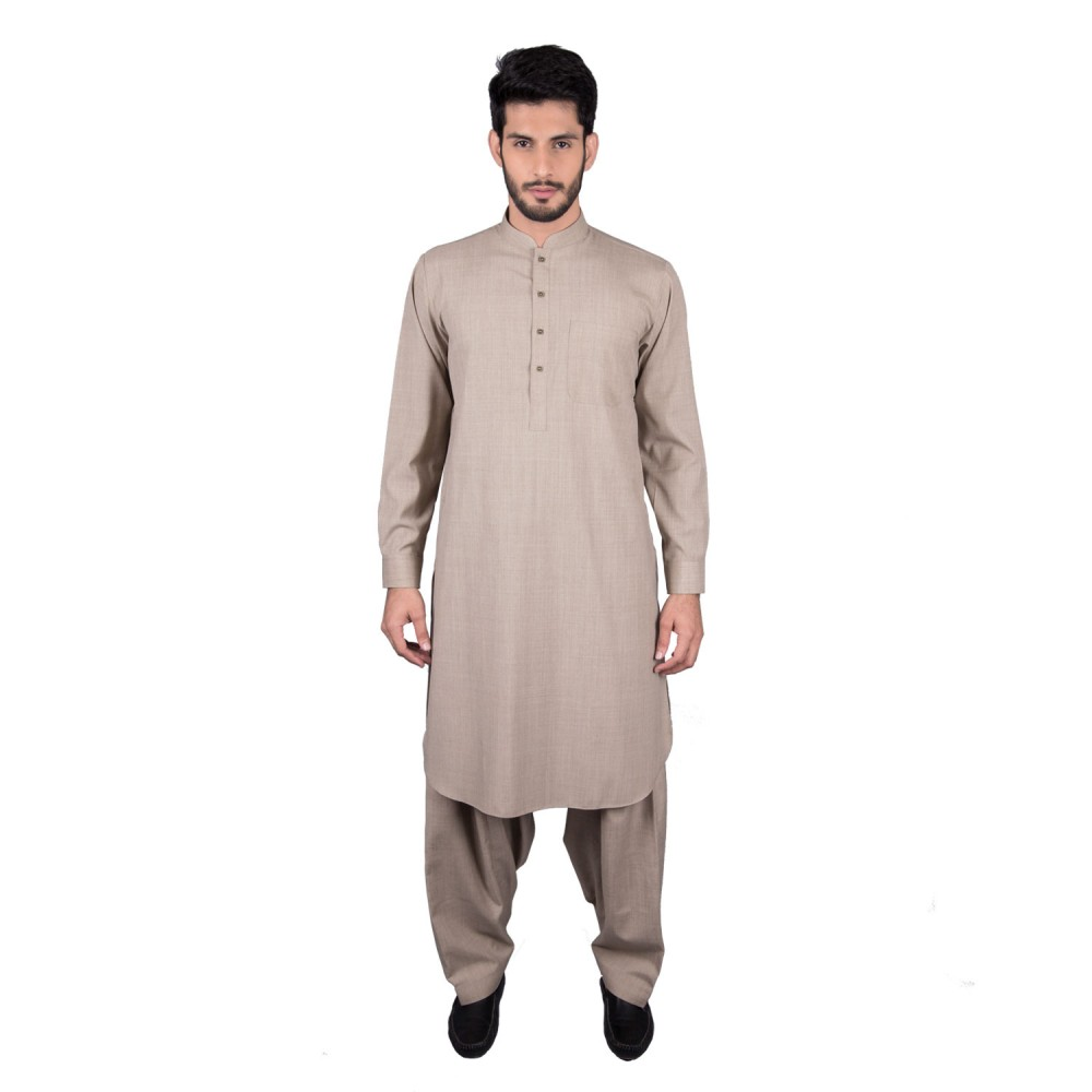 Shalwar Kameez - Salaar Brown Plain