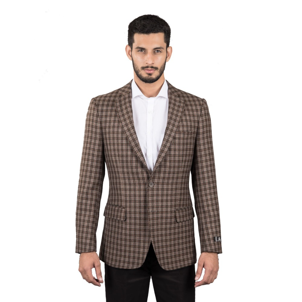 Jacket - Worsted Tweed Brown Checks - Regular