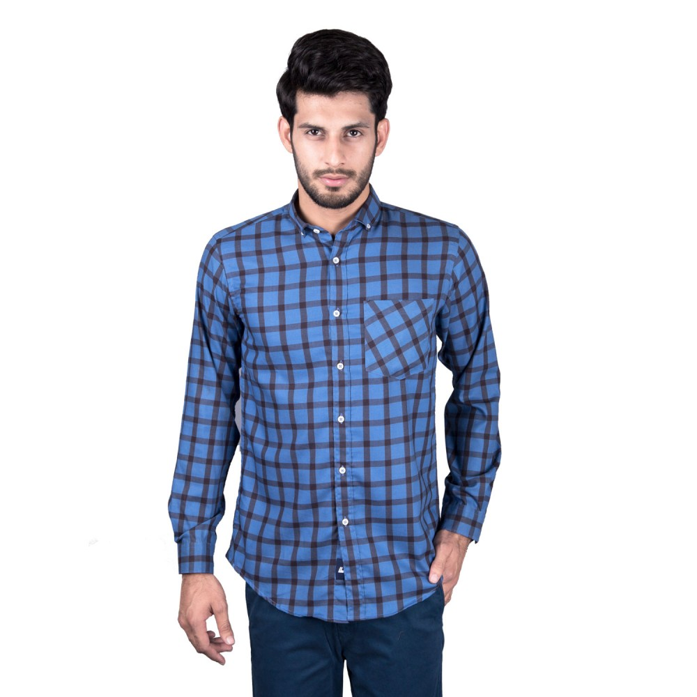 Casual Shirt - Charlie-I Blue with Black Checks