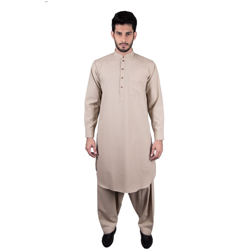 Shalwar Kameez - Altaan Brown Plain