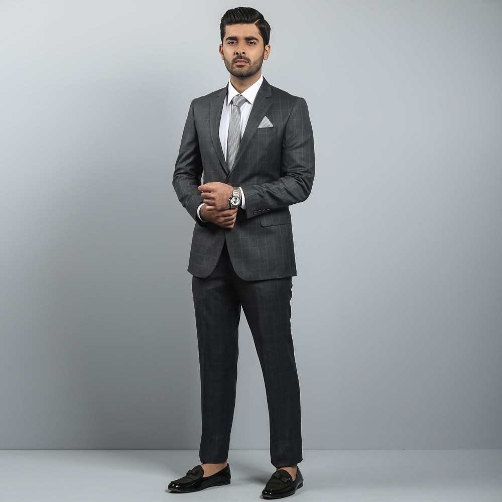 Charcoal Grey Window Pane Ivory Premium Suit