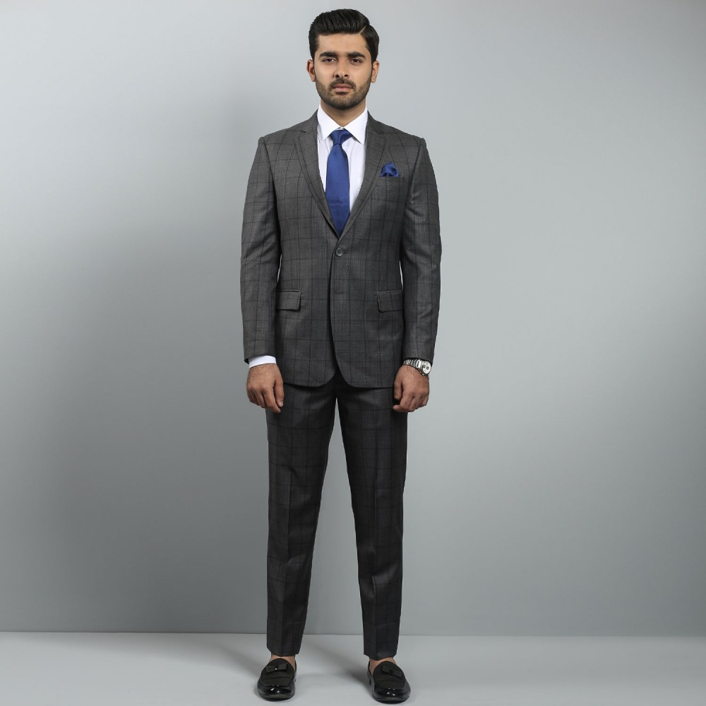 Charcoal Black Window Pane Ivory Premium Suit