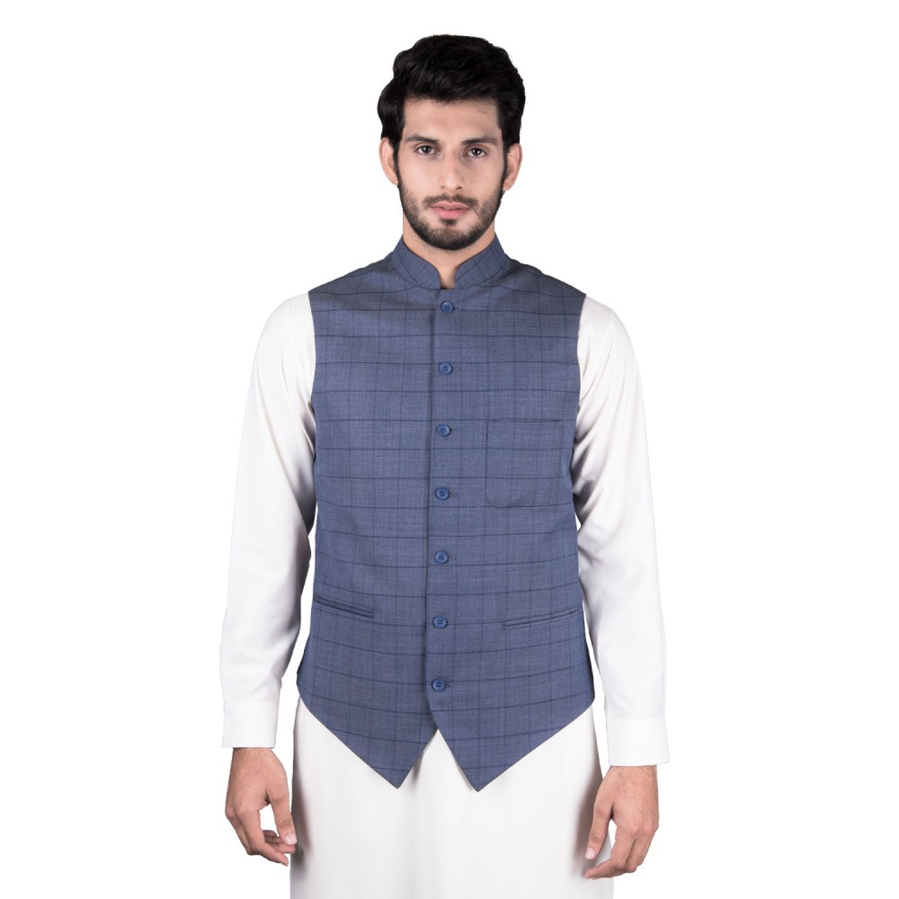 Waist Coat - Tropical Exclusive (D) Blue Checks