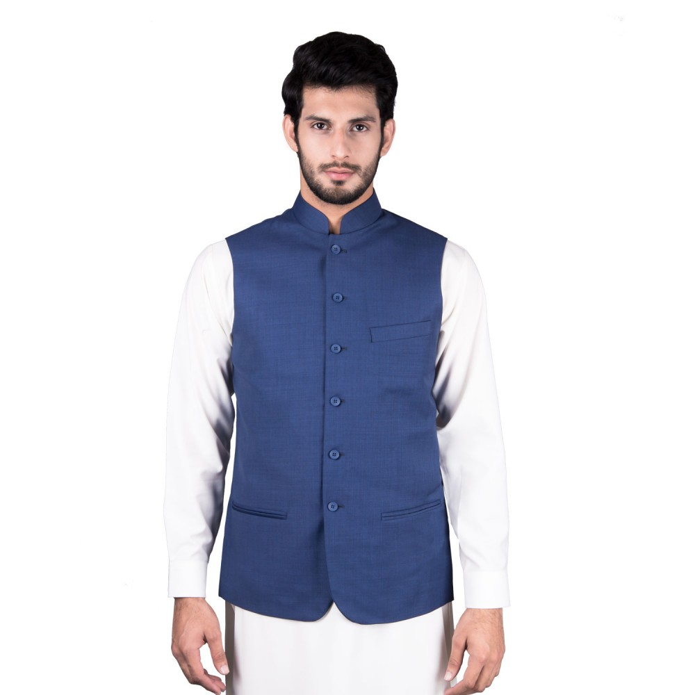 Waist Coat - Tropical Exclusive (D) Blue Textured