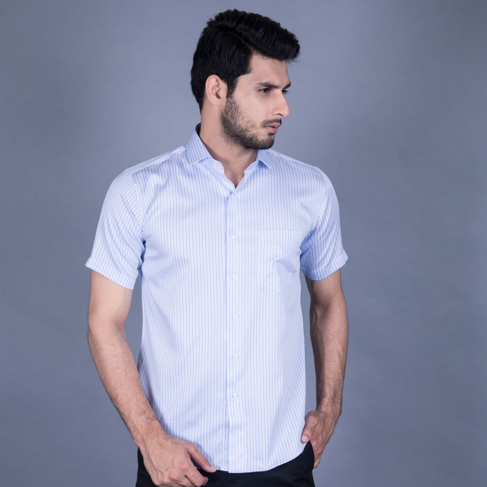Half Sleeves Shirt - Delta-1 Blue Stripes