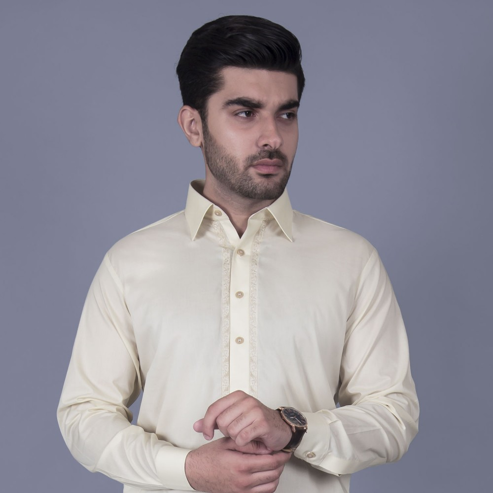 Shalwar Kameez Embroidered - Luxury Egyptian Cotton Brown
