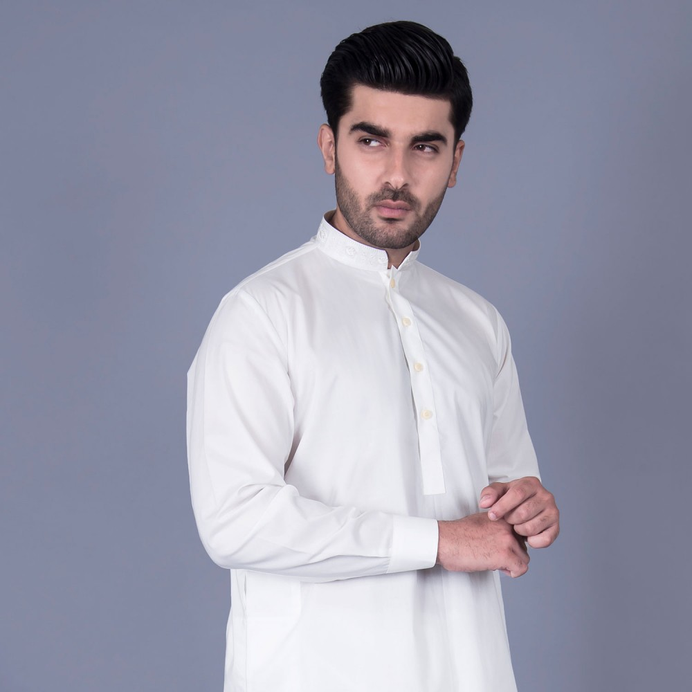 Shalwar Kameez Embroidered - Luxury Egyptian Cotton Offwhite