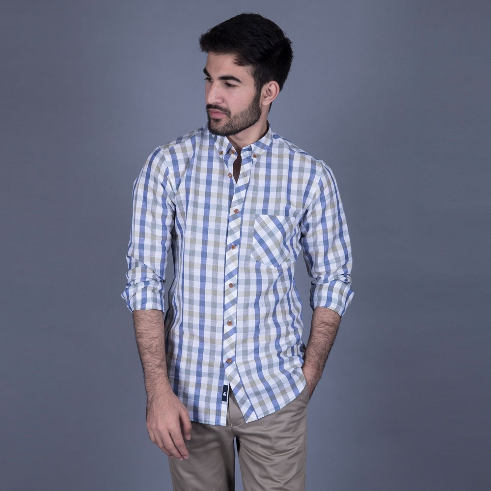 Olive Multi Checks Linen Casual Shirt
