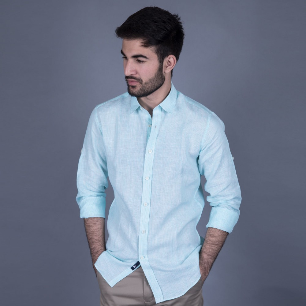Turquoise Stripe Linen Casual Shirt