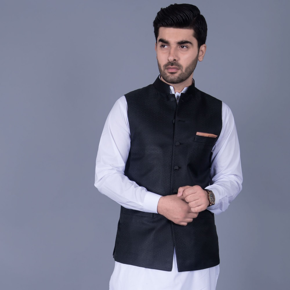 Jamawar Waist Coat in Black Self Design