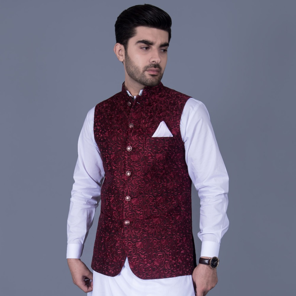 Jamawar Waist Coat in Maroon Self Design