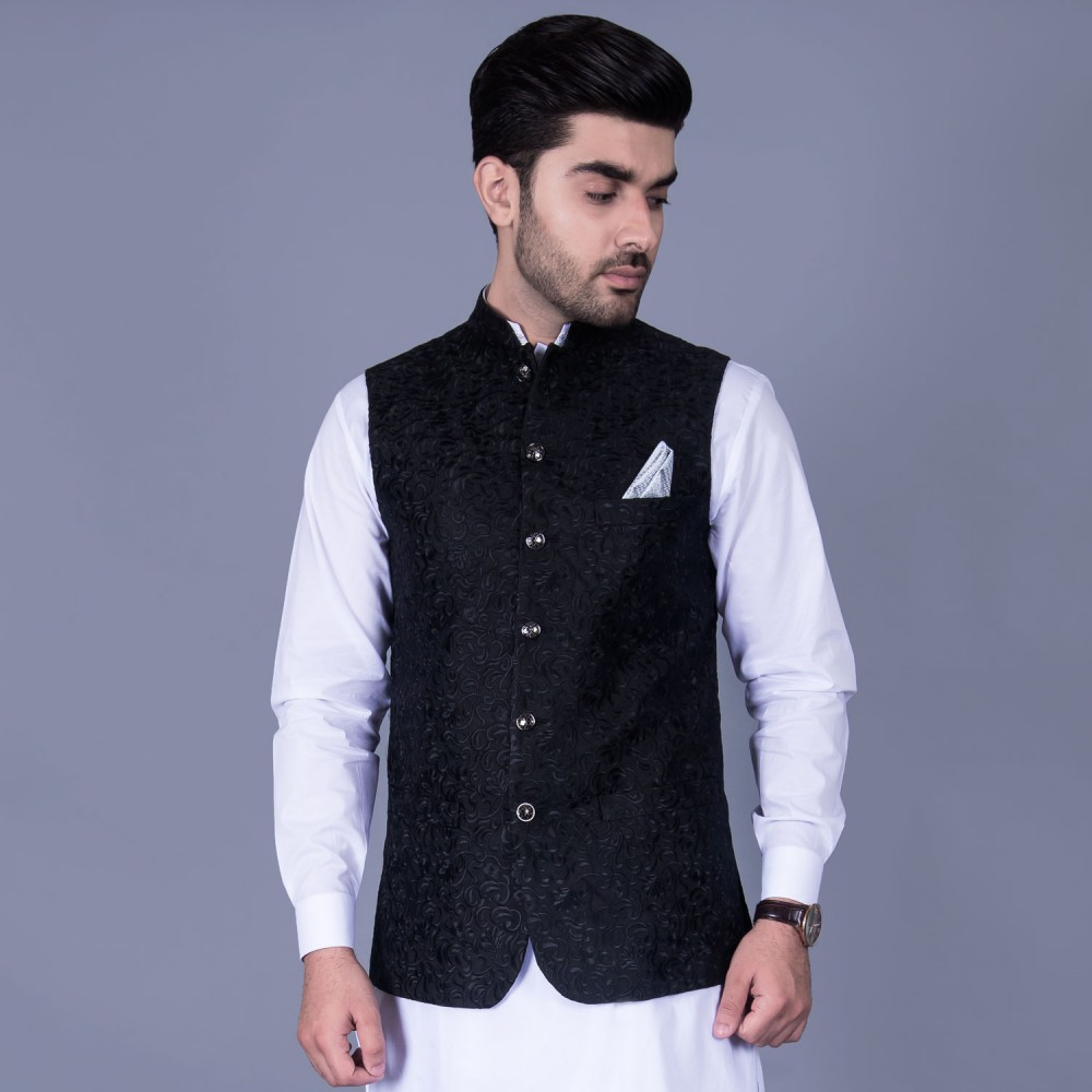 Embroidered Jamawar in Black Self Design