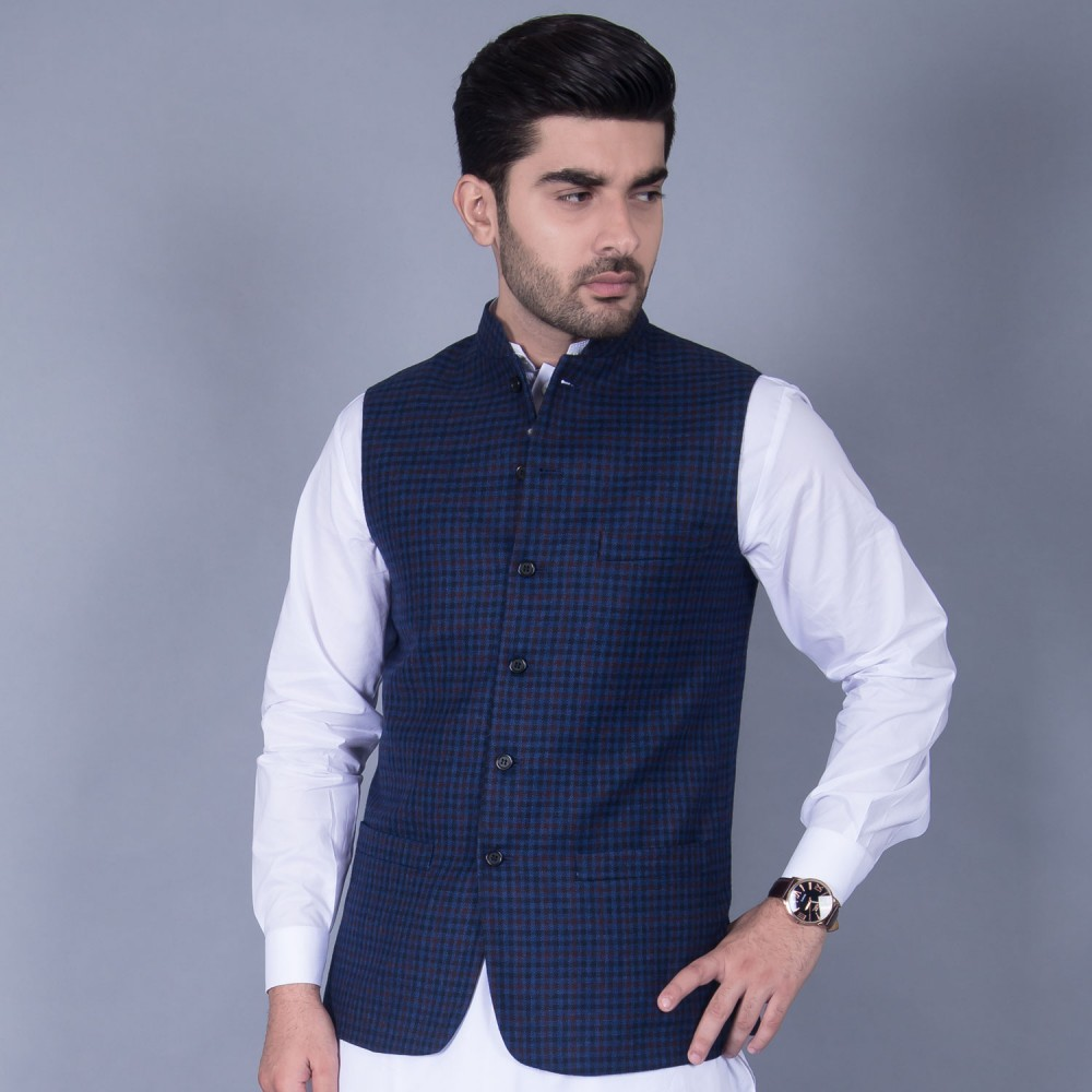 Worsted Tweed Waist Coat in Blue Check