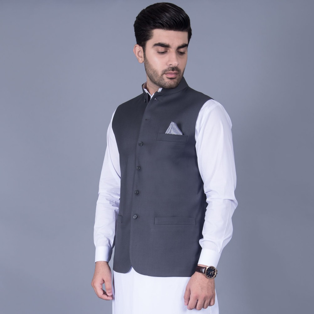 Poly Viscose Plain Medium Grey Waist Coat