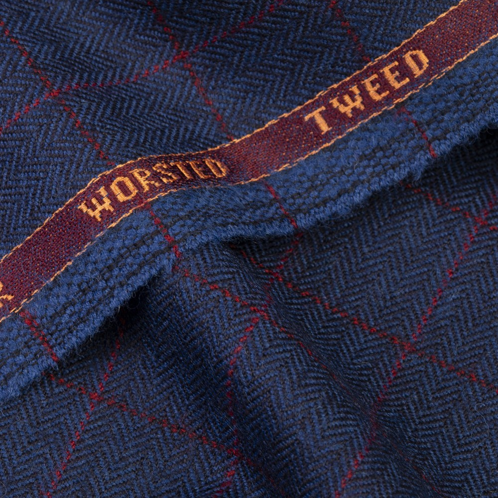 Blue Herringbone with red windowpane check Worsted Tweed