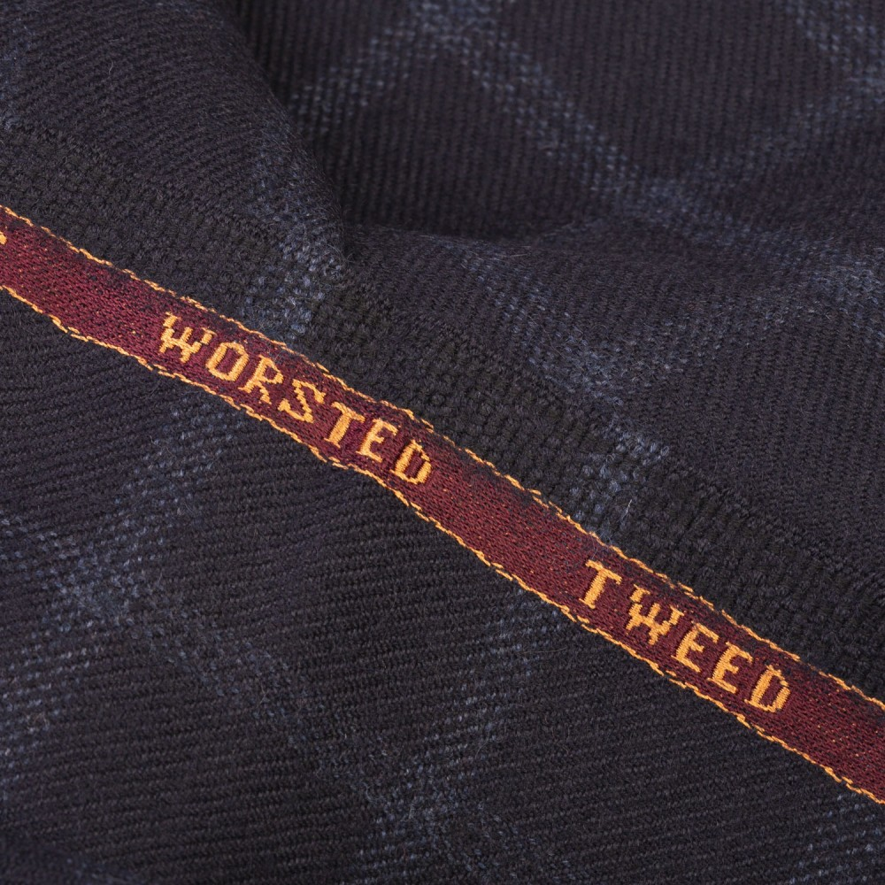 Navy Blue Broad Check Worsted Tweed