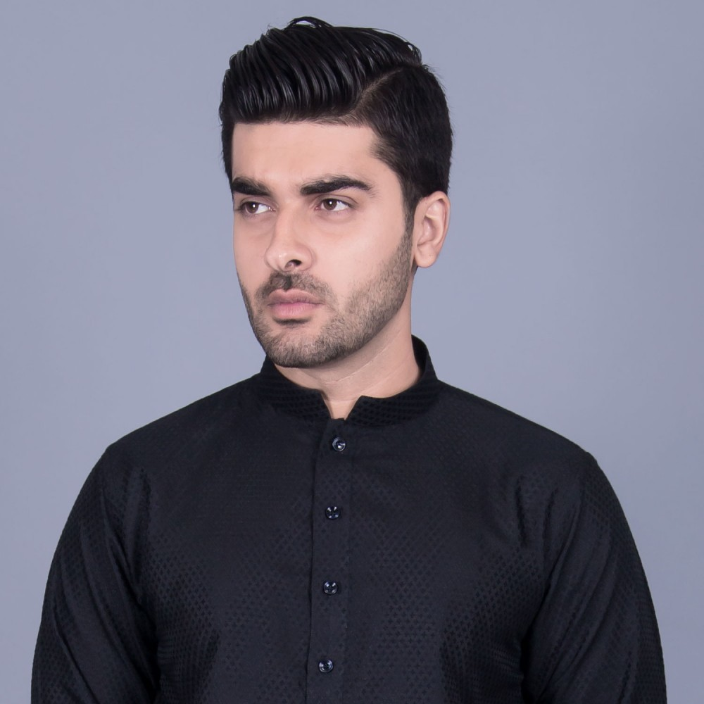 Jamawar Kurta in Black Mini Diamond Self Texture