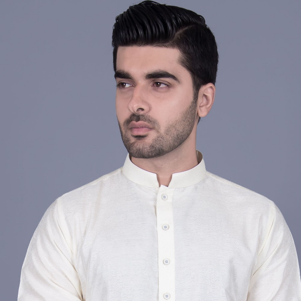 Jamawar Kurta in White Floral Self Texture