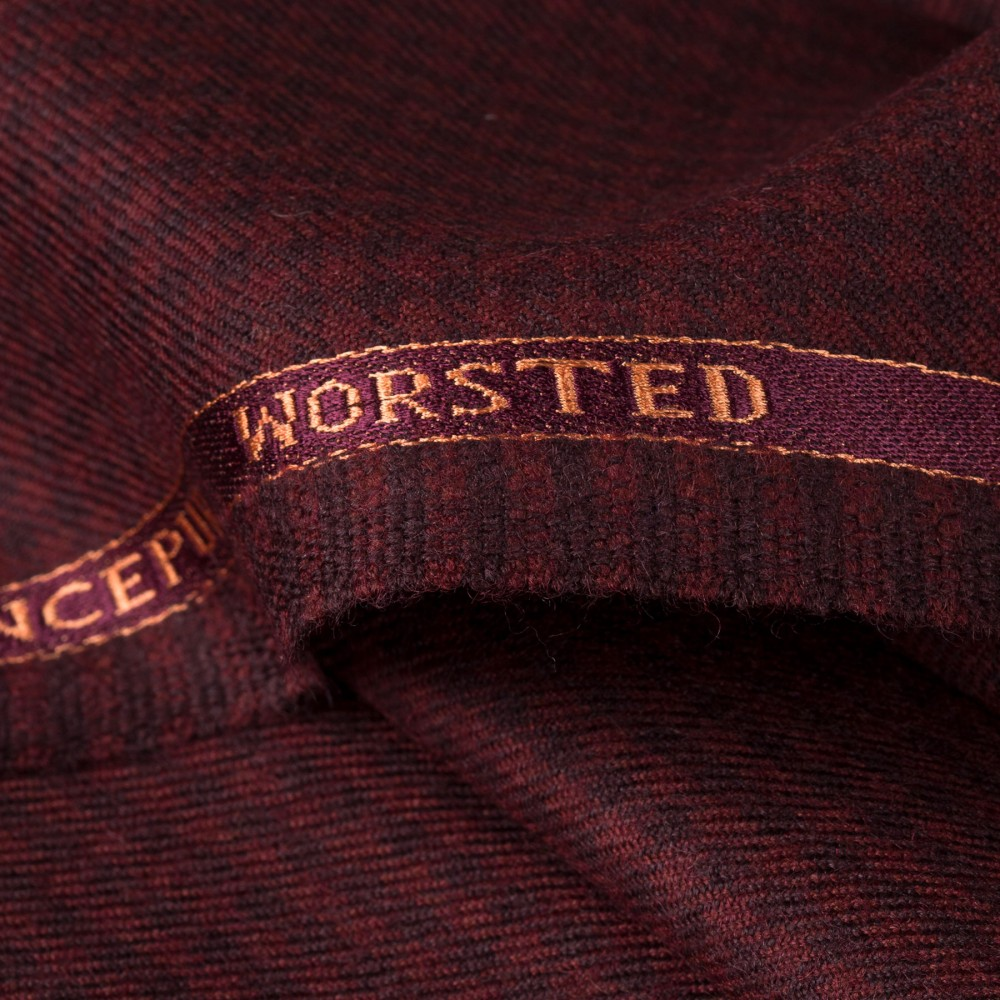 Cherry Red Houndstooth Worsted Tweed Fabric